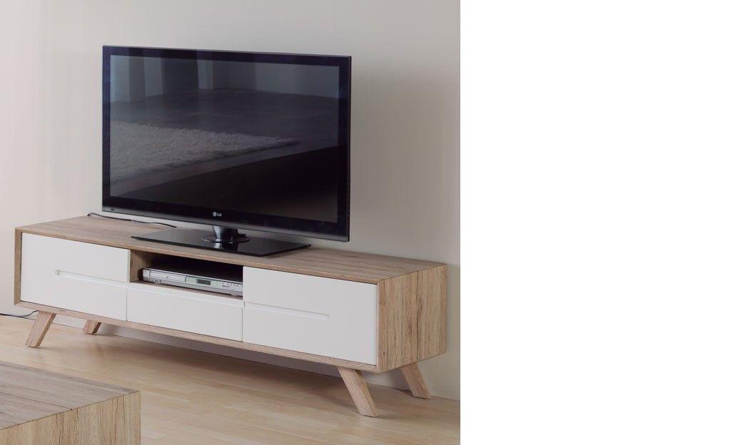 Meuble TV scandinave laqué blanc et couleur bois LARS | Centro de ...