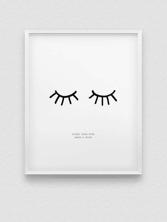 Photo of dream print // inspirational print // close your eyes dream print // nursery decor print // nordic style home decor //bedroom decor print