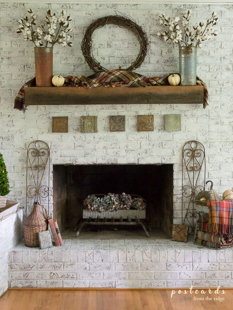 Fall Mantel With Plaids Metals And Farmhouse Charm My