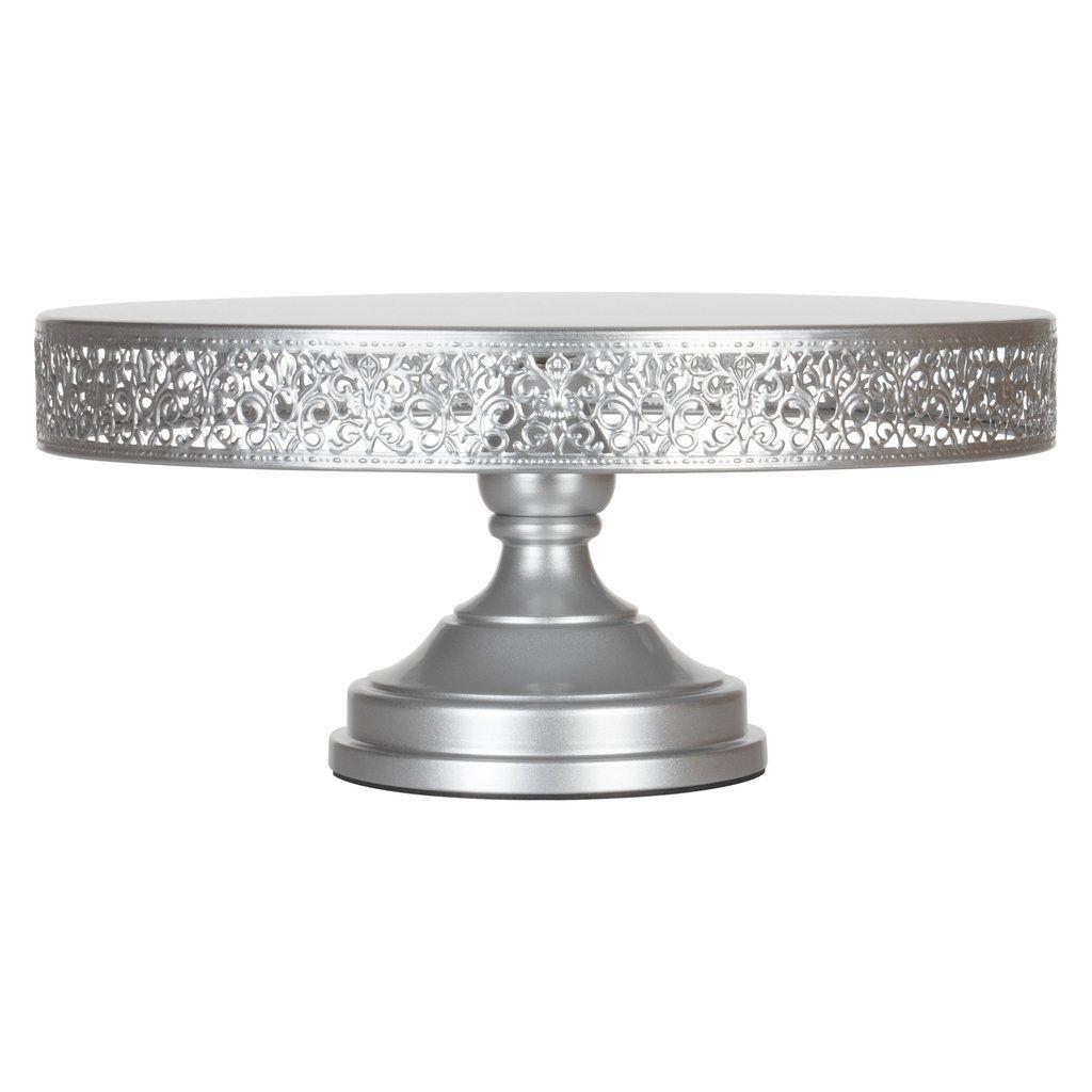 16 inch round metal wedding cake stand silver wedding