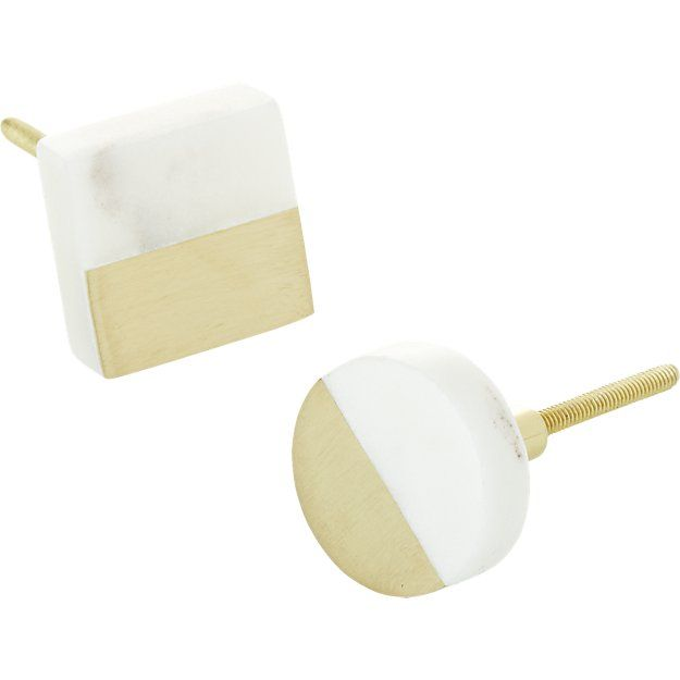 selene marble and brass knobs   CB2
