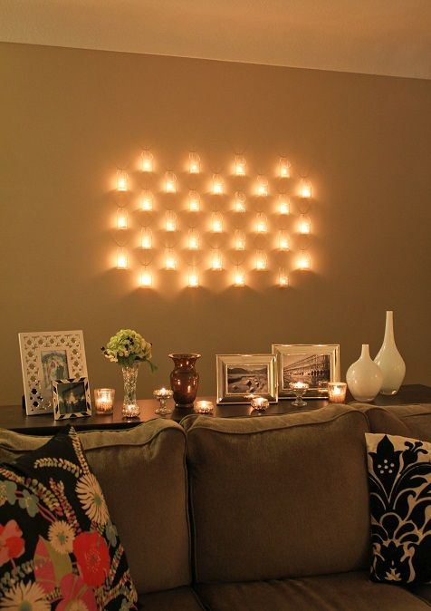 Wall Decor With Candle : Love this how to make an amazing wall of candles