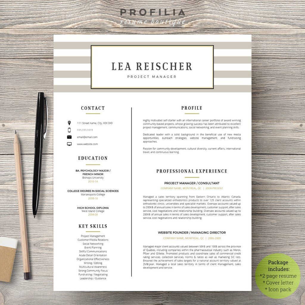 Modern Resume & Cover Letter Template --- Editable word format (#16 ...