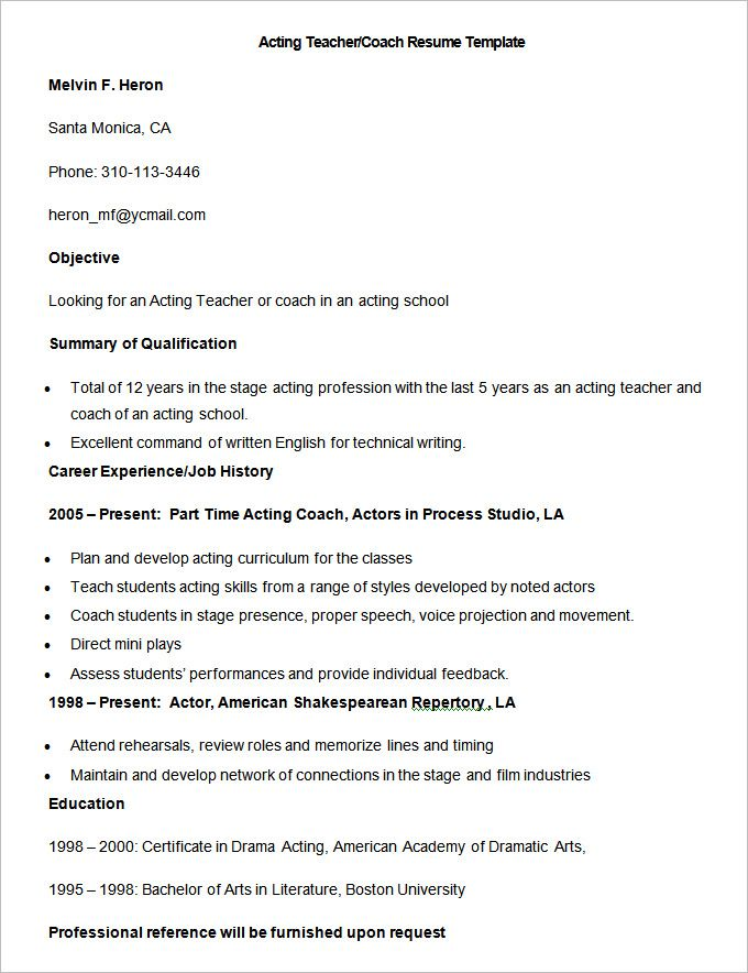 Sample Acting Teacher Coach Resume Template , How to Make a Good - good teacher resume examples