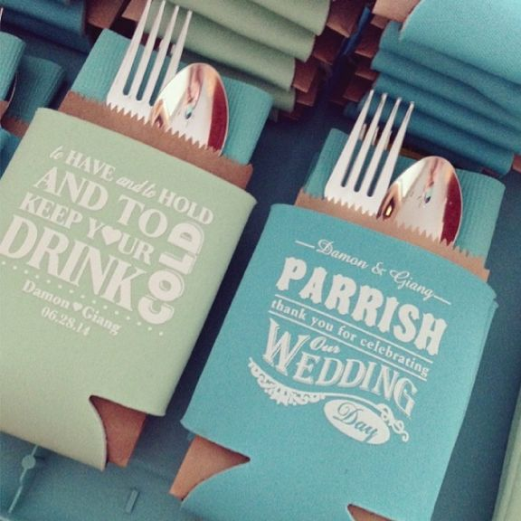 Display Koozies Favours With The Silverware