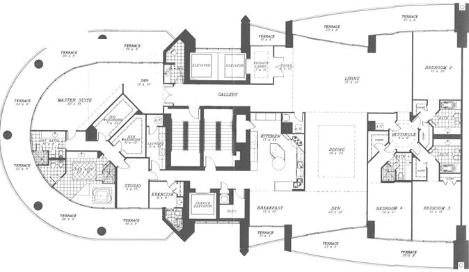 Porsche tower miami unit floor plan floor plans for Miami mansion floor plans