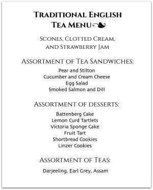 Sample Tea Party Menu  Bridal ShowerTea Party    Tea
