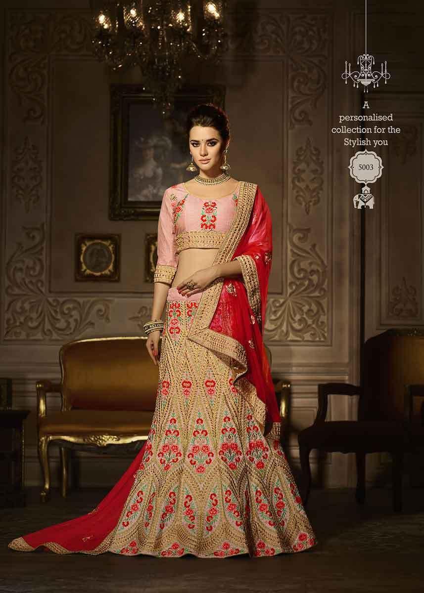2e37d82454f4 Beautiful Pink Color Bangalori Silk Heavy Work Lehenga Choli For Girls