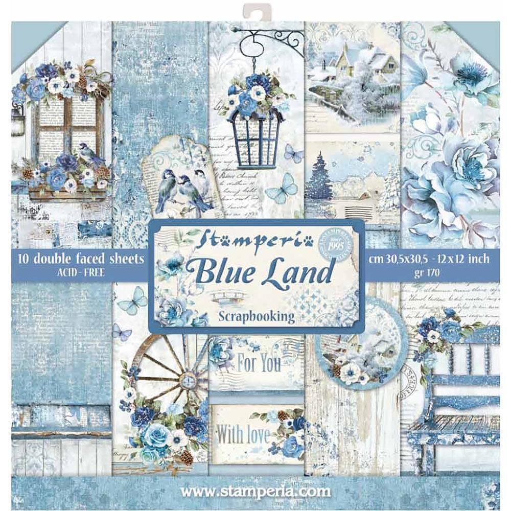 Stamperia Blue Land Double Sided 12x12 Paper Pad Paper Pads Scrapbook Paper Patchwork Cards