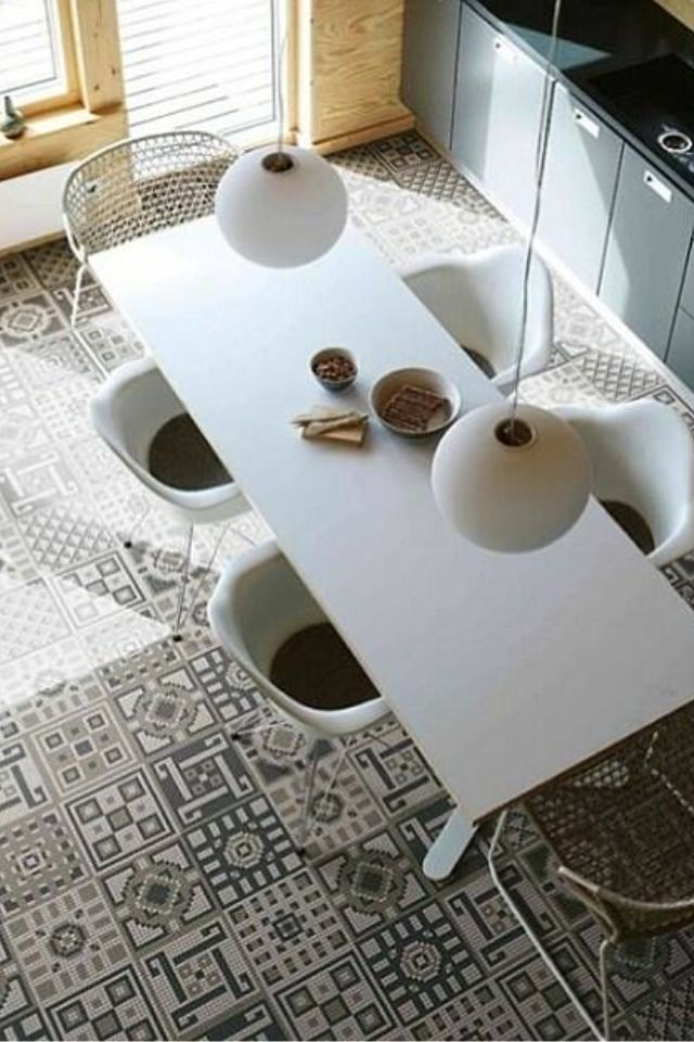 Loving Those Black And White Moroccan Inspired Kitchen Floor Tiles