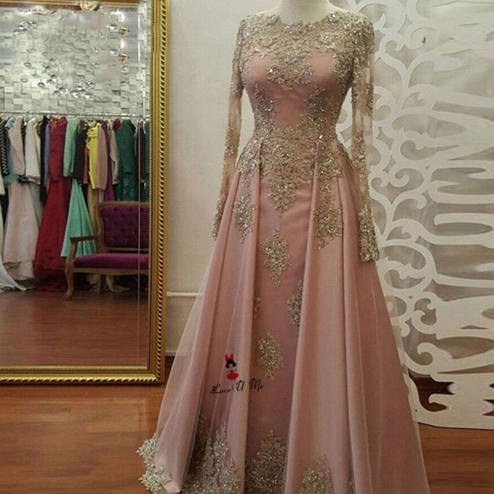 Abendkleider Langarm Muslimischen Abendkleid Gold Spitze