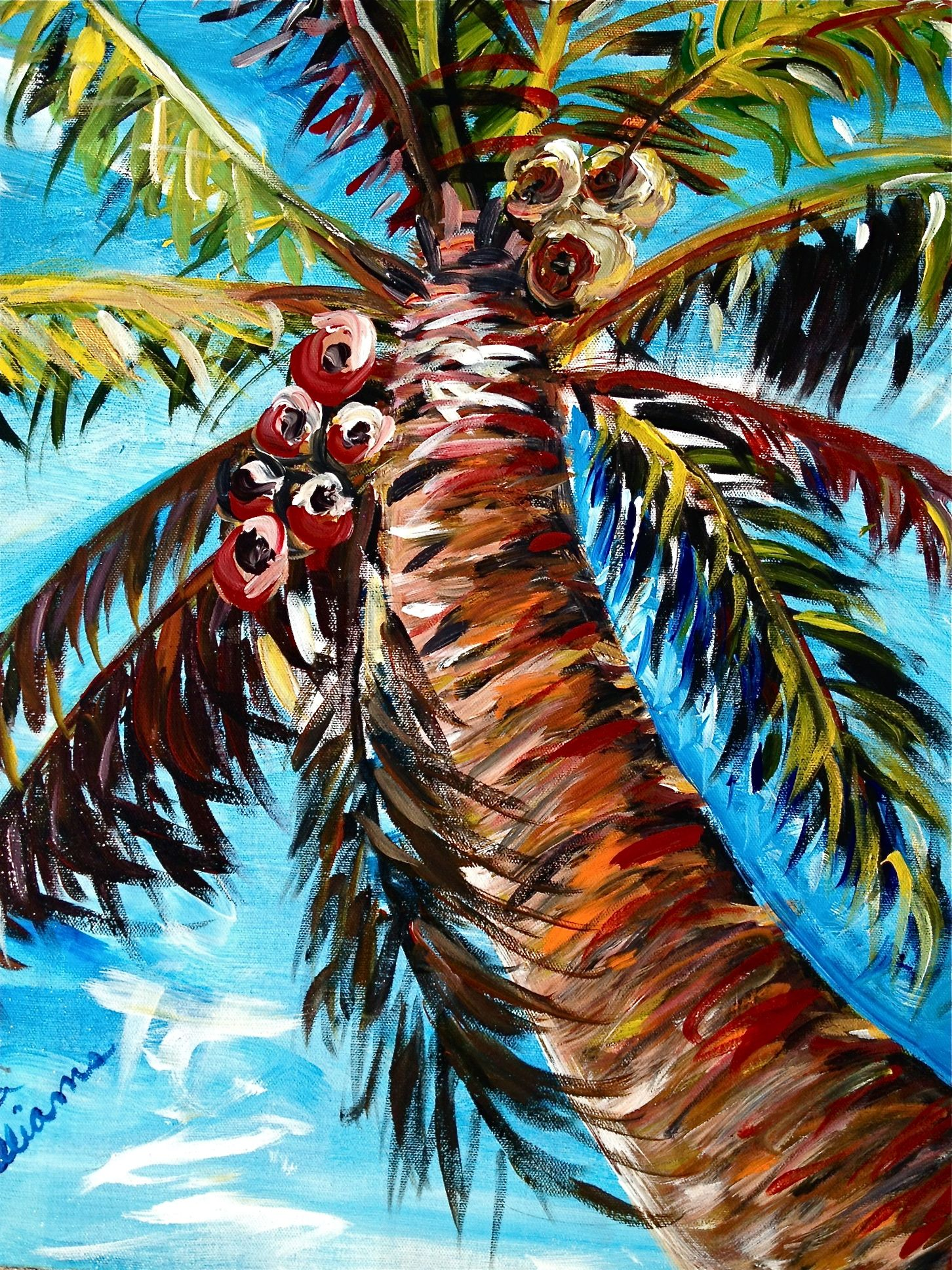 Palm tree painting becky williams art work for Palm tree painting