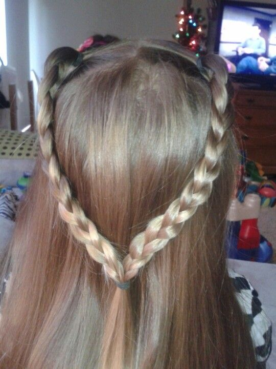 Half pig tails braided and tied together | Hairstyles for ...