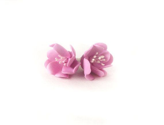 Flower studsCherry blossom jewelryPolymer clay by Vasadoll on Etsy, $14.45