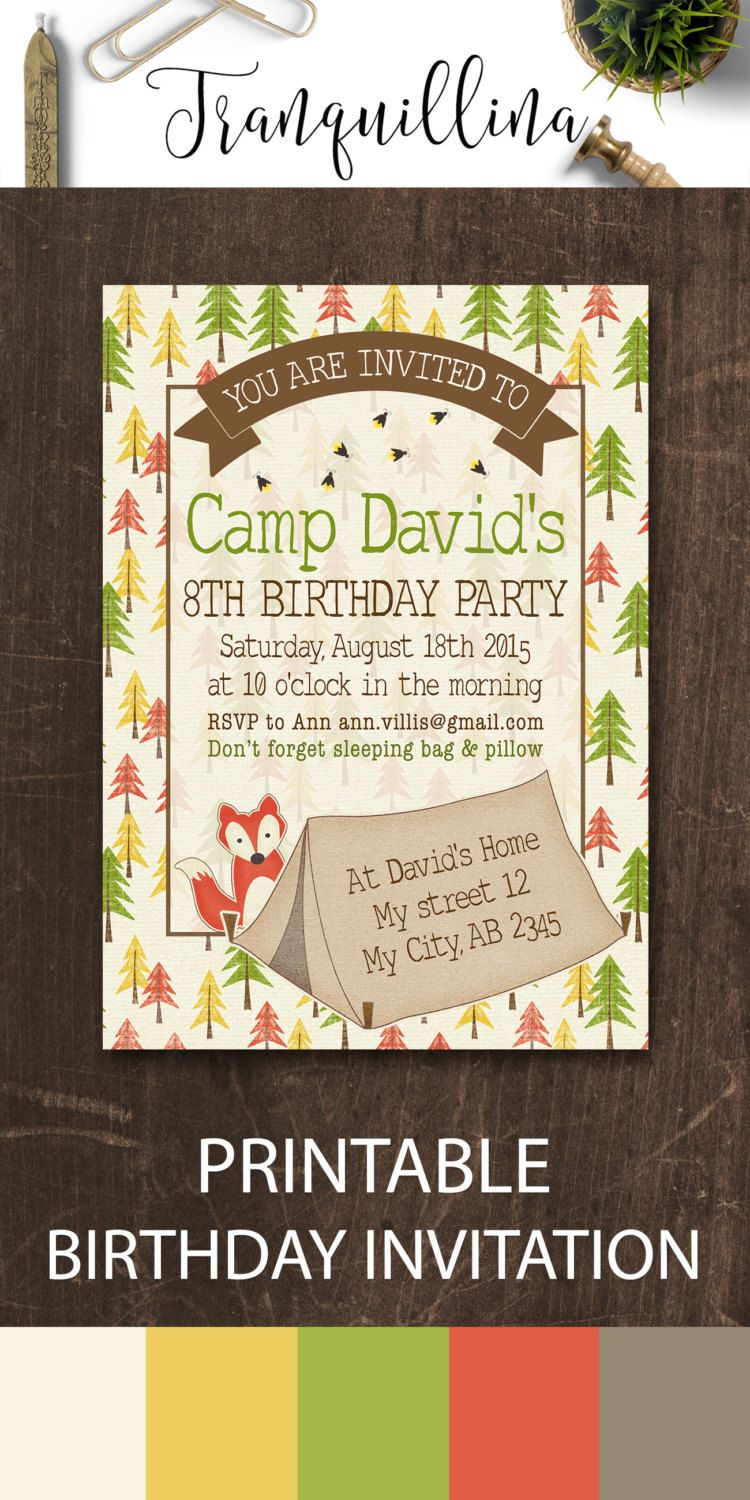 Camping Birthday Invitation Printable, Camping Invitation, Camping ...