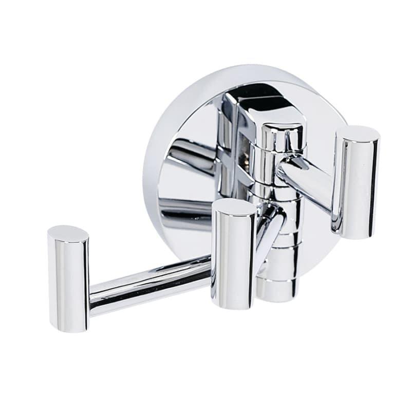 Chrome Double Robe Hook Wall Mounted Modern Bath Accessories Bathroom Hardware
