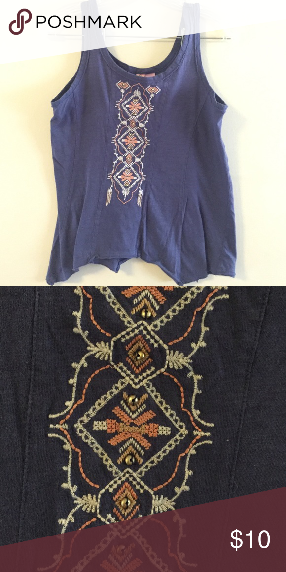 Blue tank top. Hand embroidered. Flowy tank top. Hand embroidered. Tops Tank Tops