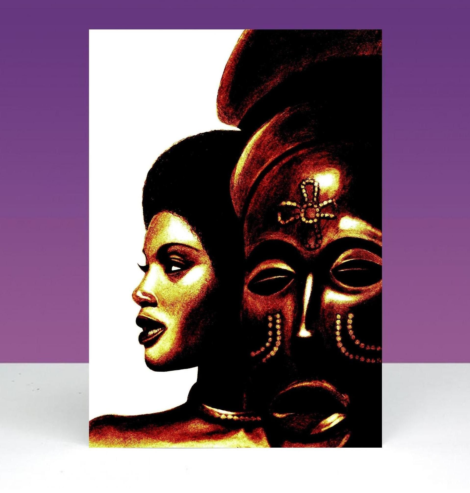 Woman and african mask culture and arts pinterest african quality black people greeting cards for all occasions celebrating black british african caribbean african american and dual heritage people kristyandbryce Image collections
