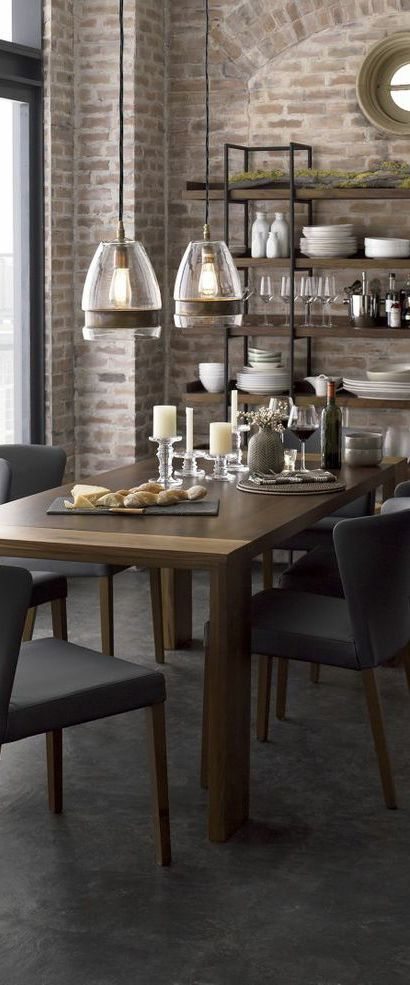 Rustic Interior Design Styles Large Dining Room Table Large