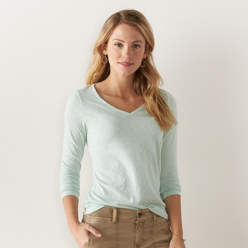 Women's SONOMA Goods for Life™ Essential Slubbed V-Neck Tee, Size: