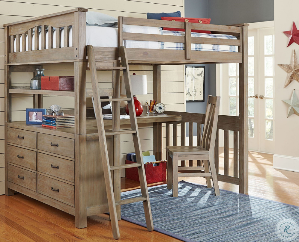 Highlands Driftwood Full Loft Bed with Desk And Chair in ...