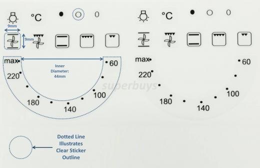 22pc 60 220 Degree Oven Hob Plate Temp Symbols Adhesive Knob Dial
