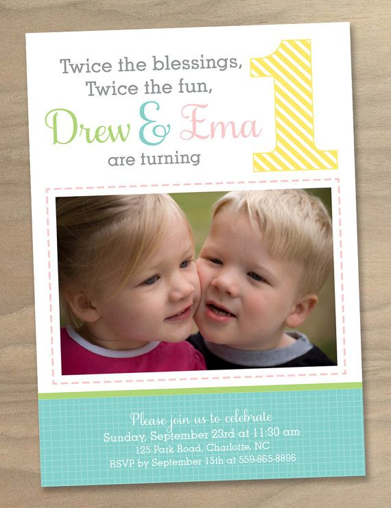 baby girl and boy twins first 1st birthday photo invitation twin