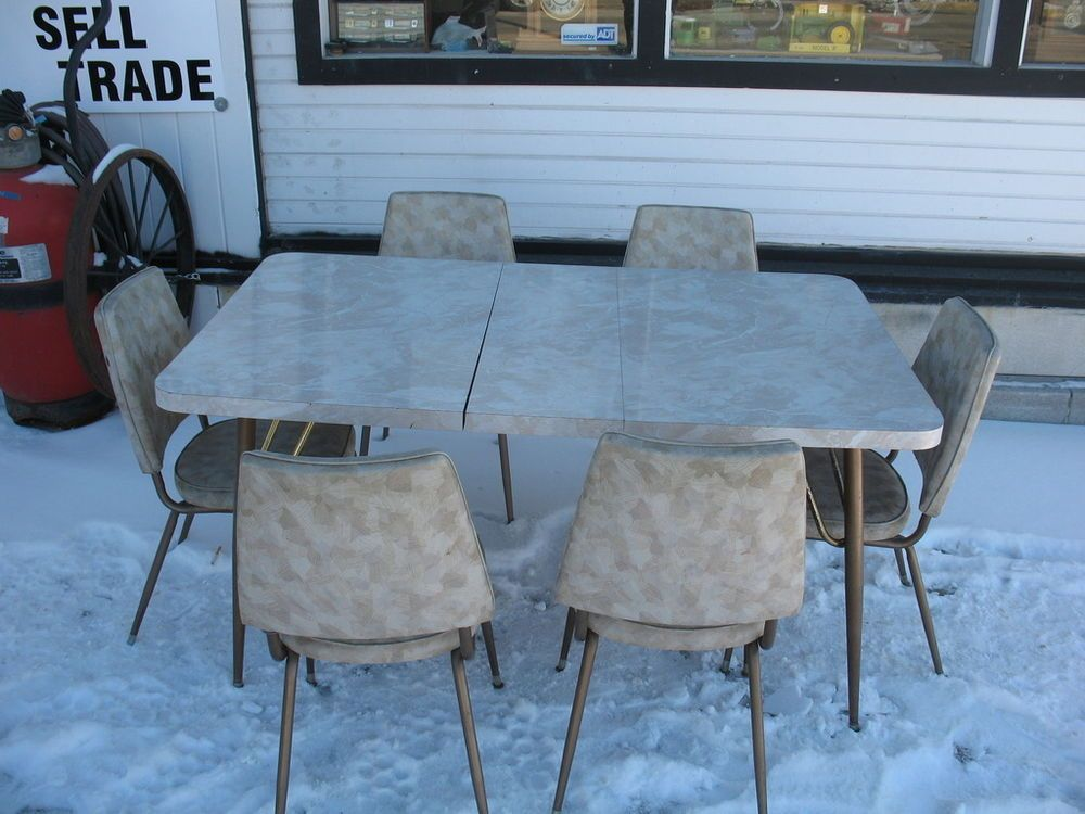 1950's Queen city Art Deco retro Vintage Dinette / Kitchen Table with 6  chairs - 1950's Queen City Art Deco Retro Vintage Dinette / Kitchen Table