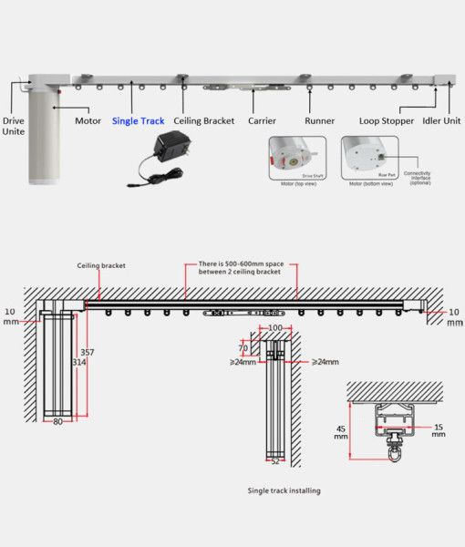 Single Or Dual Track Motorized Curtain Rods From Curtain Call