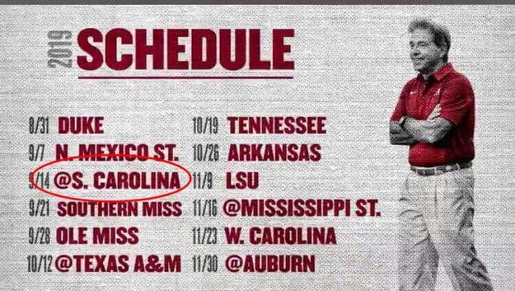 2019 Alabama Schedule Plus 2 Bye Weeks Alabama Football