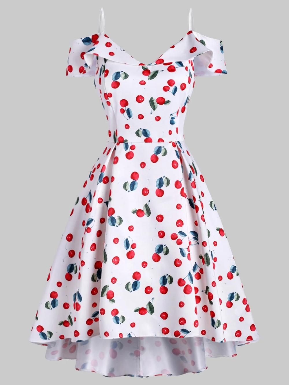 Cherry Print Cami Foldover High Low Dress Cherry Print Hem Dress Vintage Flare Dress [ 1330 x 1000 Pixel ]