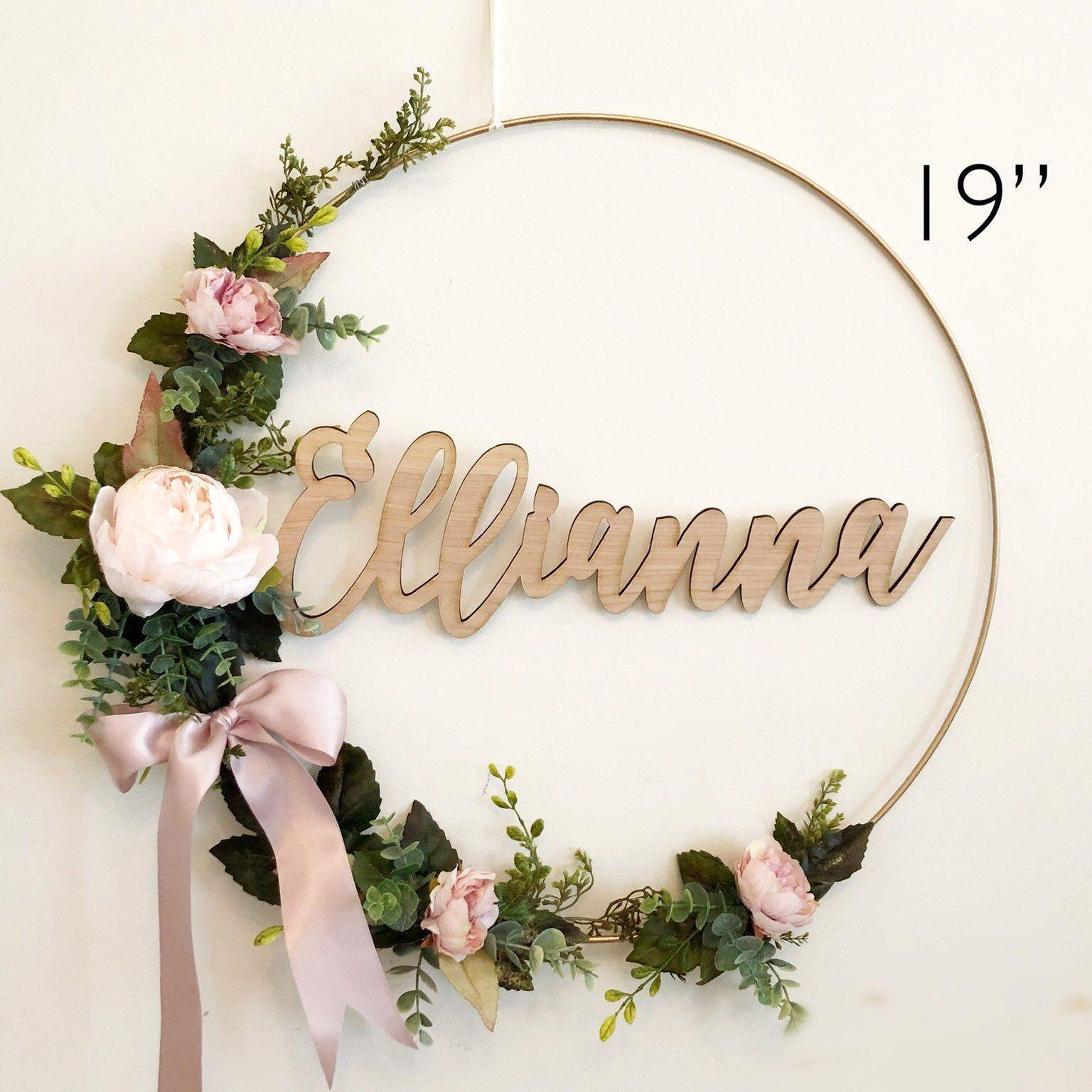 nursery shower wreath floral hoop ramo distinto blush