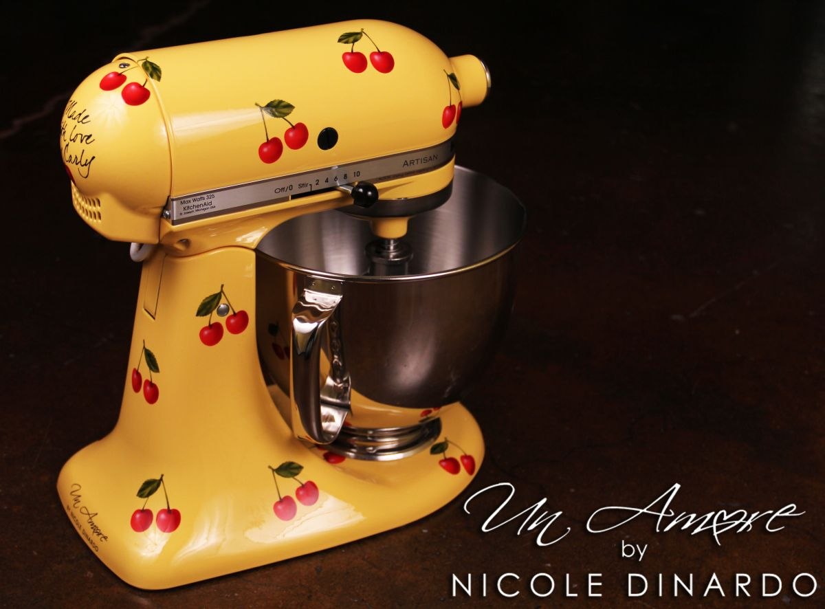 Cherries on yellow kitchenaid mixer with images