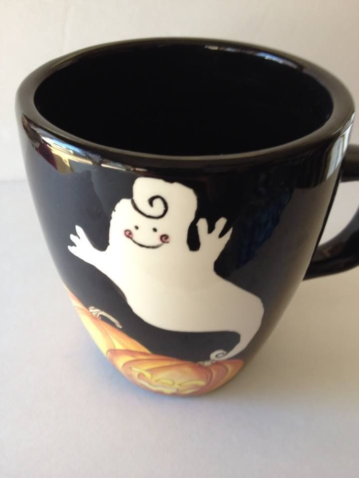 Minty Laurie Gates Gates Ware Black Halloween Mug Ghost Pumpkins
