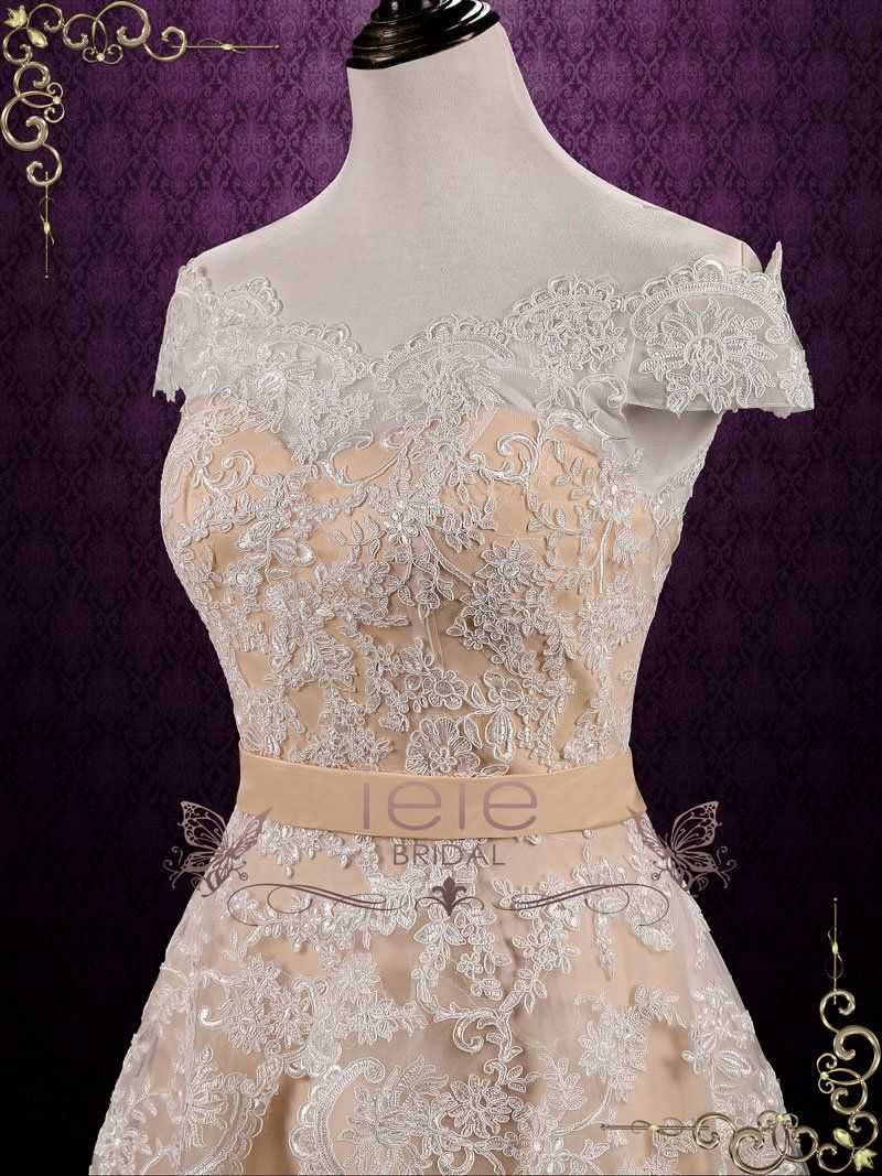 312044b23ee3 Vintage inspired lace wedding dress with beautiful tiered lace skirt and  romantic off shoulder sleeves.