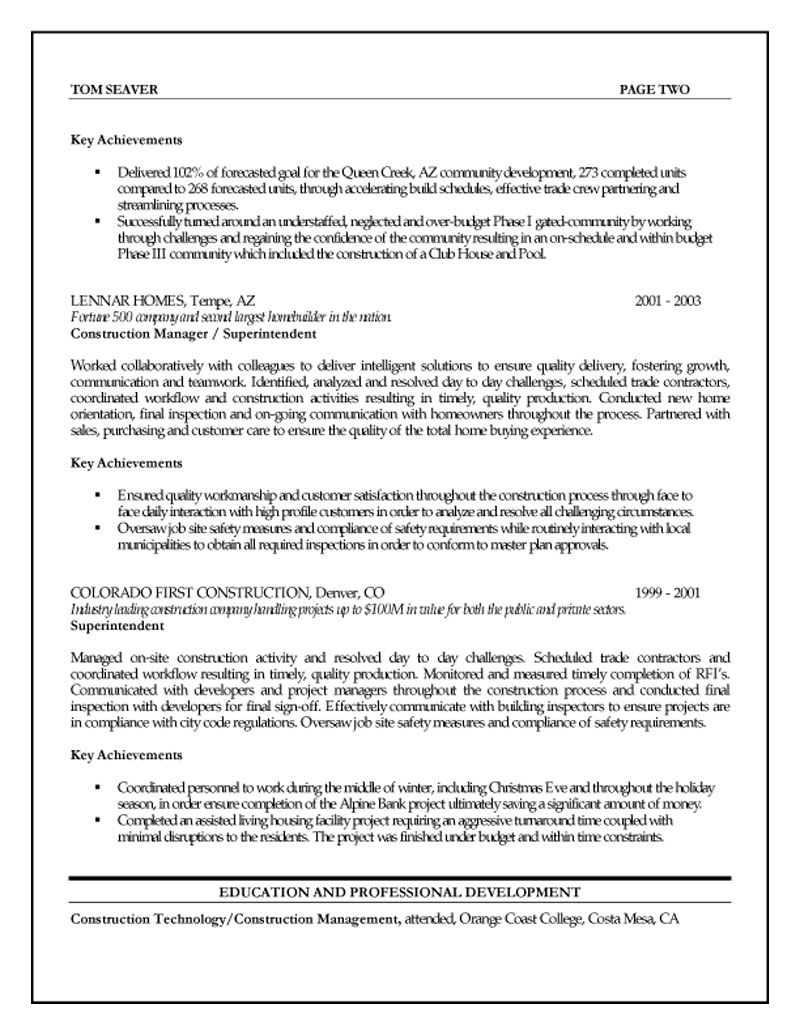 construction management resume examples assistant project