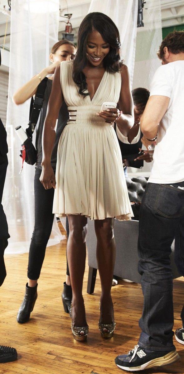 Naomi Campbell at the Azzedine Alaia Spring 2014 ...  Naomi Campbell Alaia Dress