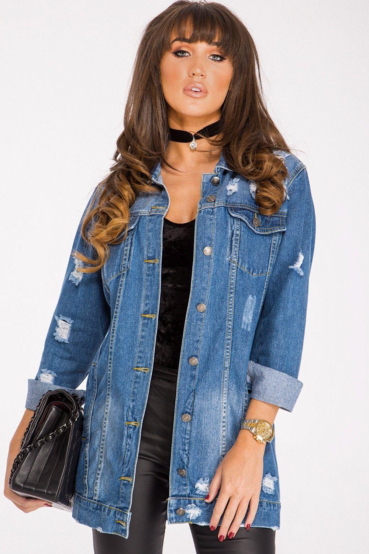 Megan Mckenna Ripped Denim Jacket Longline Denim Jacket Jacket Outfits Jean Jacket Outfits [ 1500 x 1000 Pixel ]