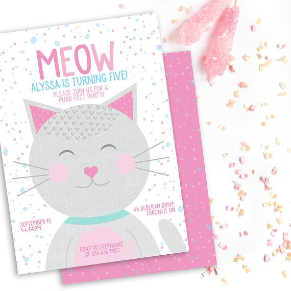 Kitten birthday party invitation kitty birthday invitation cat kitten birthday party invitation kitty birthday invitation cat birthday invitation purr fect filmwisefo Image collections