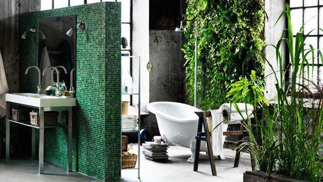 salle de bains zen verte demi cloison mur vgtal baignoire rtro