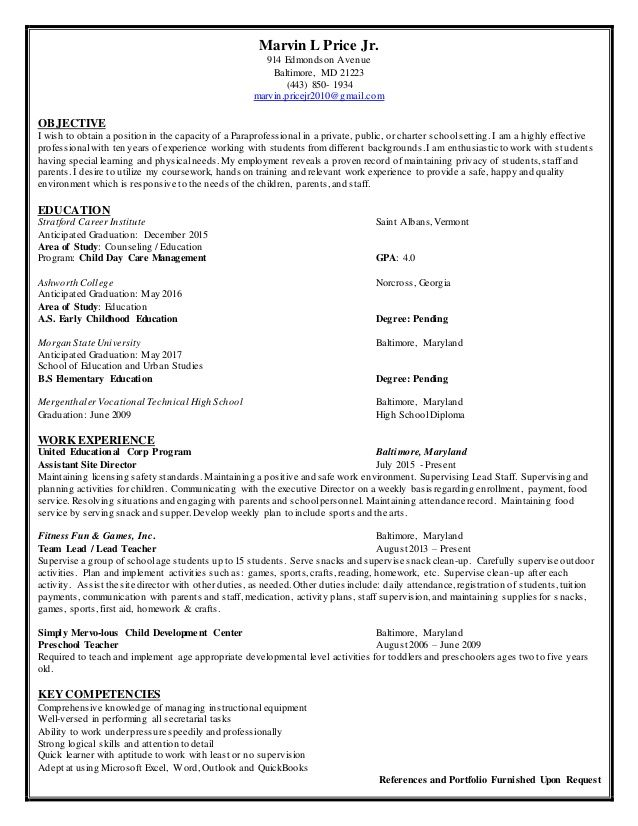 paraprofessional resume samples visualcv database