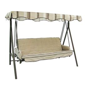 garden winds solid gray color replacement canopy for garden treasures traditional 3 person swing    visit the image link more details  garden treasures 3 seat steel traditional cushion hammock swing      rh   pinterest