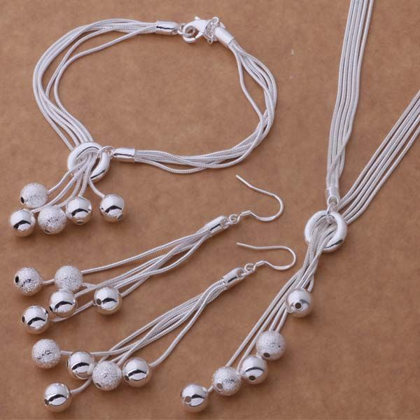 AS271 Hot 925 sterling silver Jewelry Sets Braccialetto 011 + Necklace 494 + Orecchino 324/aktajcaa argajina
