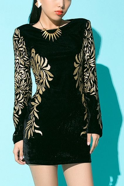 Floral Pattern Long Sleeve Dress