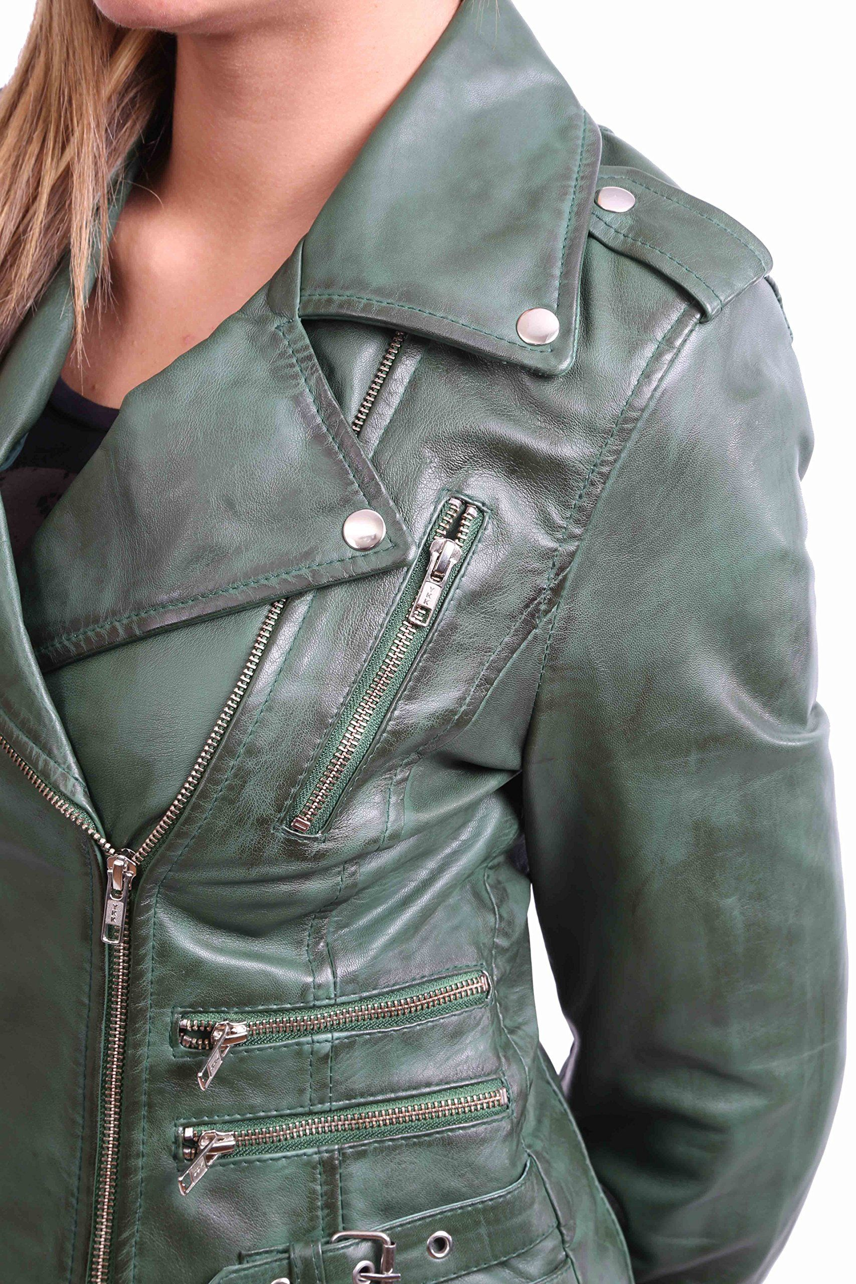 3719d2d69dd7 Womens Real Leather Biker Motorcycle Style Fitted Cross Zip Jacket Cara  Green Medium >>> Want additional info? Click on the image.