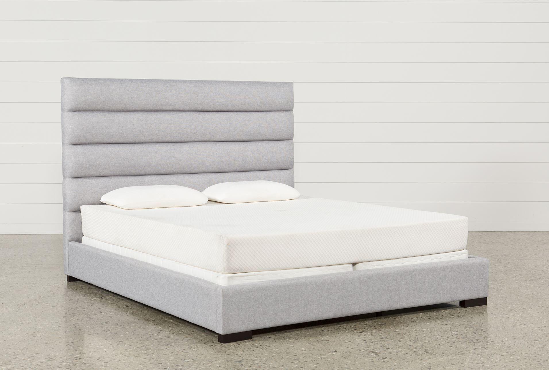 California King Upholstered Platform Bed, Hudson, Grey | Deberes y ...