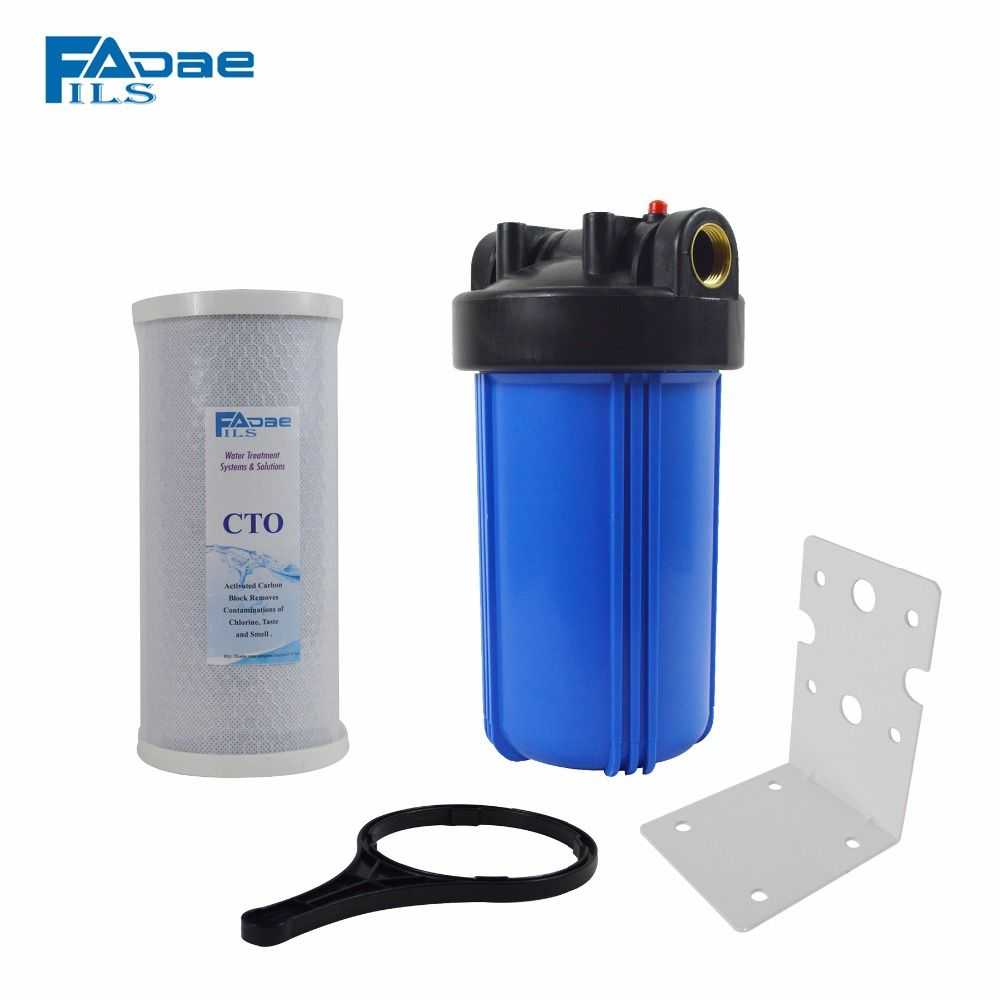 Single Stage 10inch Jumbo Carbon Block Cartridge Cbc Water Filter With Mounting Bracket And Wrench Whole House Water Filter Water Filter Mounting Brackets