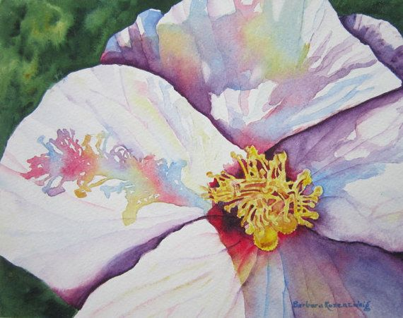 White Hibiscus Flower Art Print Flower Painting Floral ...