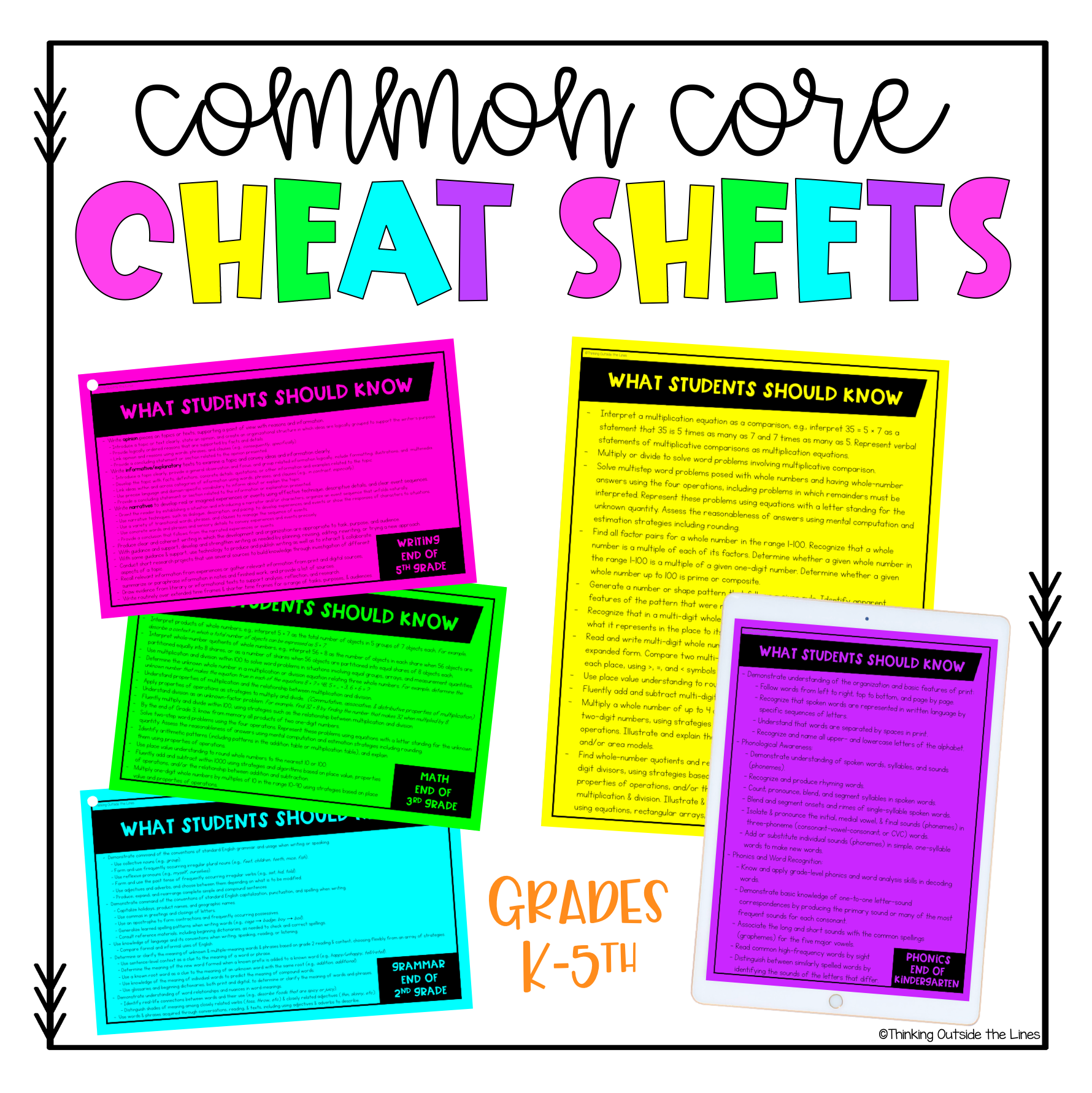 Common Core Standards Cheat Sheets