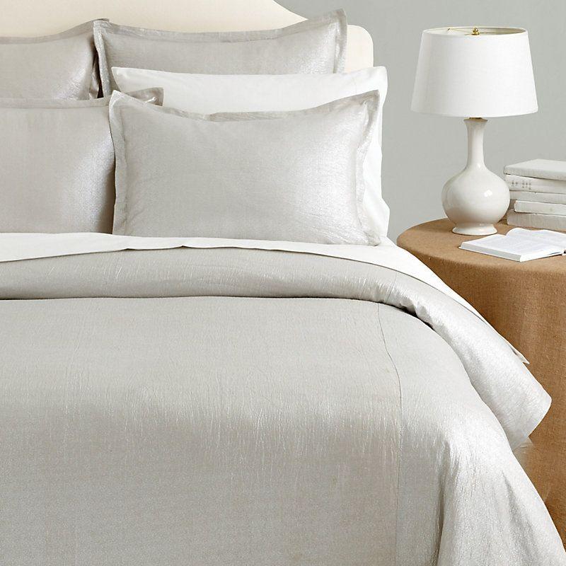 Celestine Metallic Duvet Cover Bed Linens Luxury Silver Bedding
